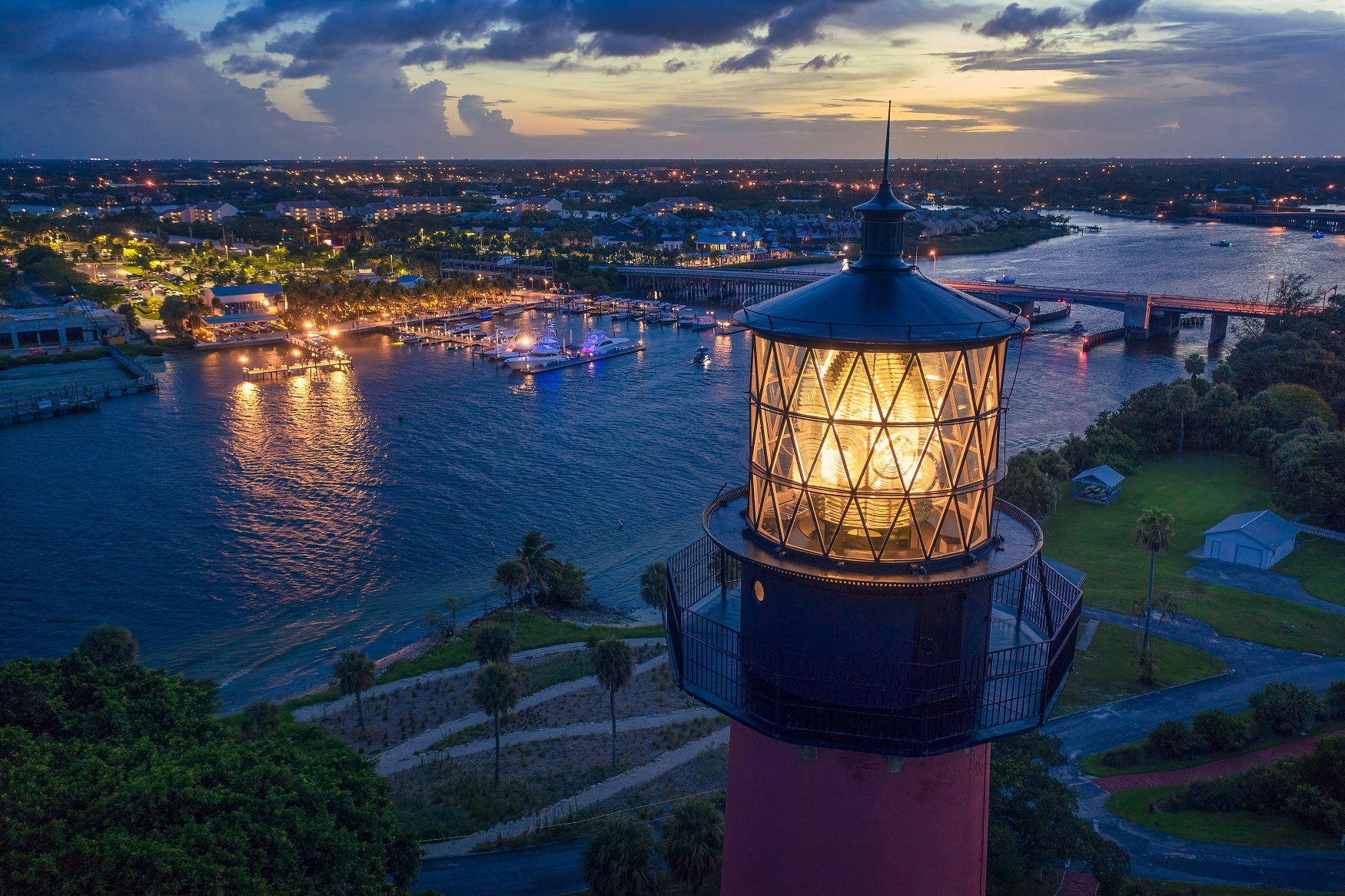 Jupiter Lighthouse Nightlife Waterway Aerial Photography (c) Discover The Palm Beaches