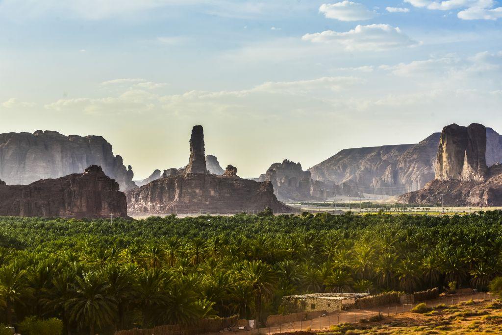 Die Oase AlUlas ist ein einzigartiges, 20 Kilometer langes Gartenparadies umgeben von majestätischen Felsformationen und Wüstensand.